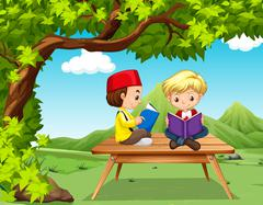 Two boys reading books in the park Stock Illustration