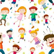 Seamless background with happy children Stock Illustration