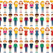 Seamless background with boys and girls Stock Illustration