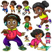 African American kids doing different things Stock Illustration