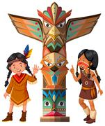 Two Red indians and totem pole Stock Illustration