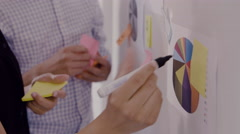 Young Business Executive drawing on sticky note Stock Footage