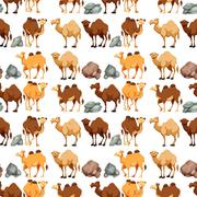 Seamless background with camels and rocks Stock Illustration