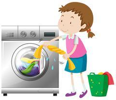 Girl doing laundry with washing machine Stock Illustration