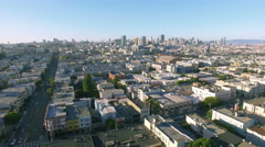 4k aerial view downtown san francisco above houses Stock Footage