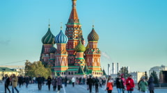 Abstract Red Square St Basils Church Time Lapse Stock Footage