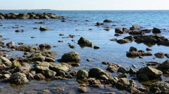 Seascape autumn with beach stones Stock Footage