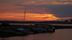 Boats in a landscape, are in a small bay of the sea Stock Footage