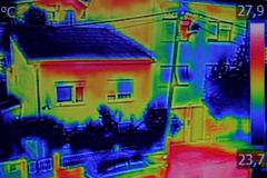 Thermal image on Residential building - stock photo