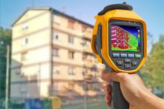 Recording Buildings With Thermal Camera Stock Photos