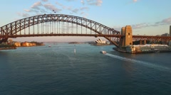 Slow Track In Aerial footage of Sydney Harbour Bridge Stock Footage