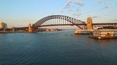 Aerial footage of Sydney Harbour Bridge Stock Footage
