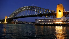 Train Speed Ramp Sydney Harbour Bridge on dusk Stock Footage