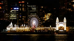 Luna Park Sydney Harbour at night, - stock footage