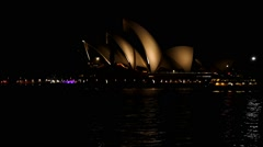 Speed Ramp Ferry Sydney Opera House at night Stock Footage