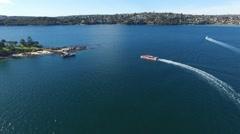 Aerial footage of Shark Island Sydney Harbour Stock Footage