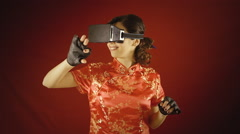 Virtual reality woman chinese gestures Stock Footage