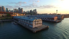 Aerial footage of Old Sydney Piers. Situated near Darling Harbour Stock Footage