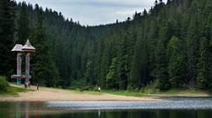 Mountain lake in Carpathians in Ukraine Stock Footage