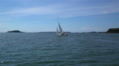 Sailboat in the sea off the coast of Finland. Stock Footage
