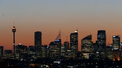 Sydney Harbour at night and on dusk Stock Footage