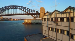 Reveal of Sydney Harbour Bridge Aerial on Dusk Wider Stock Footage