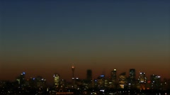 Sydney Harbour at night and on dusk with haze and smog Stock Footage