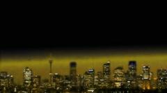 Golden City Sydney Skyline at night and on dusk Stock Footage