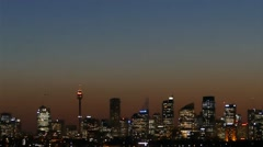 Smog over Sydney Harbour at night and on dusk Stock Footage