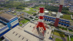 Aerial view of power plant Stock Footage