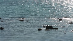 Background with reflections on the sea with stones Stock Footage