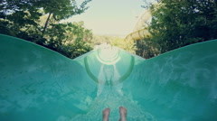 Water slide at Aqua Park. POV Stock Footage