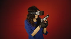 Virtual reality woman gunfight game over Stock Footage