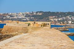 View of the old port and Lighthouse in Chania, Crete, Greece Stock Photos