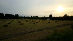 Agricultural machine makes hay bales Stock Footage