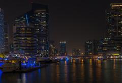 Night view of Dubai Marina, United Arab Emirates Stock Photos
