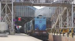 Diesel Loc at Egmore railway station,Chennai,India Stock Footage