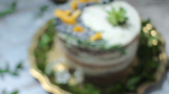 Cake Style Fine Art With Fresh Fruits and Flowers Stock Footage