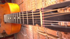 Close guitar fretboard and strings Stock Footage
