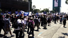 Political March - Bernie Sanders supporters march down street 03 Stock Footage