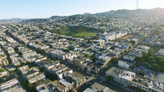 4k aerial view from san francisco downtown to above dolores park Stock Footage
