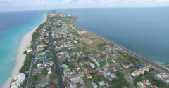 Drone is moving around tropical island in the bay of Atlantic Ocean. Bird's-eye Stock Footage
