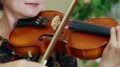 Caucasian Violinist closeup. Stock Footage