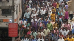 Crowded platform with commuter in central station,Chennai,India Stock Footage