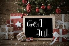 Nostalgic Tree, Snowflakes, God Jul Means Merry Christmas - stock photo