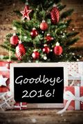 Christmas Tree With Goodbye 2016 - stock photo