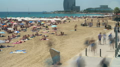 Beaches of Barcelona city.Time lapse.Long Exposure.4k. - stock footage