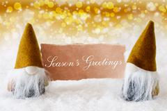 Golden Noble Gnomes With Card, Text Seasons Greetings Stock Illustration