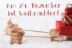 Reindeer With Sled On Snow, Weihnachten Means Christmas - stock photo