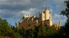 Middle age castle, romantic cinderella style medieval fortress - stock footage